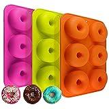 Newthinking 3 Pack Silikon Donut Formen, 6 Mulden Antihaft-Backblech Maker Pfanne Hitze Widerstand für Kuchen Biscuit Bagels Muffins-orange, Rose Rot, Grün