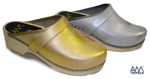 World of Clogs ,  Sabot/sandali donna Grigio grigio 38 oro