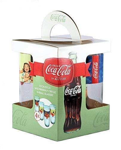 Coca-Cola Offizielles 50's Friendly Circle Hi-Ball Gläser, 480 ml - Set von 4 Retro Diner Home Bar Hi-ball Gläser