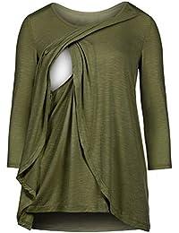 WEIMEITE Ropa de Maternidad para Mujer Cómodos Mangas largas Camisas de Lactancia y Blusas de Enfermería