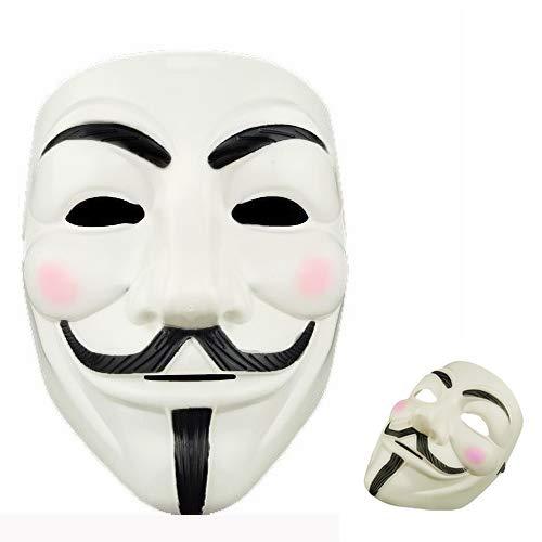 XelparucTS Máscara Facial Blanca para Disfraz 1 máscara V para Vendetta Anonymous Guy Fawkes