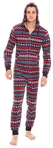 e08d2d2d07 Slumber Hut® Mens Fleece Hooded Onesie Fair Isle Aztec Winter Pattern -  Novelty Hooded All
