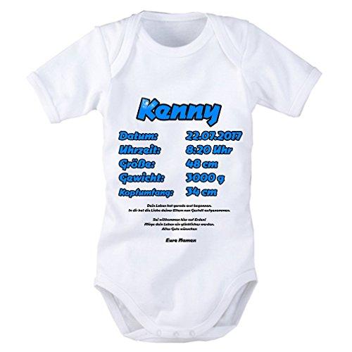 Baby Body ALS Geschenkidee in blau für Jungen: Name, Datum, Uhrzeit, Größe, Gewicht, Kopfumfang Alle Daten individuell einsetzbar. Geschenk zur Geburt, Pullerparty