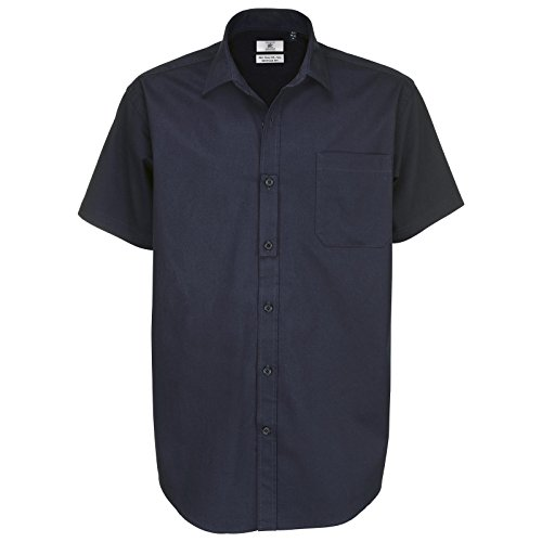 B C Collection Herren & Sharp Smart Work Short Sleeve Blau - Navy