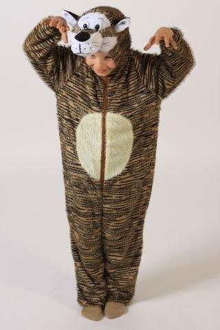 Foxxeo Tigerkostüm Kostüm Tiger für Kinder Kinderkostüm Tier Tierkostüm Gr. 98-104 - 134-140 Größe 122-128 (Kostüm Halloween-express Tiger)