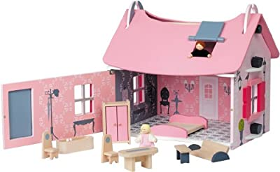Janod 4506534 Pequeña señorita - Casa de muñecas y accesorios, color rosa de Janod