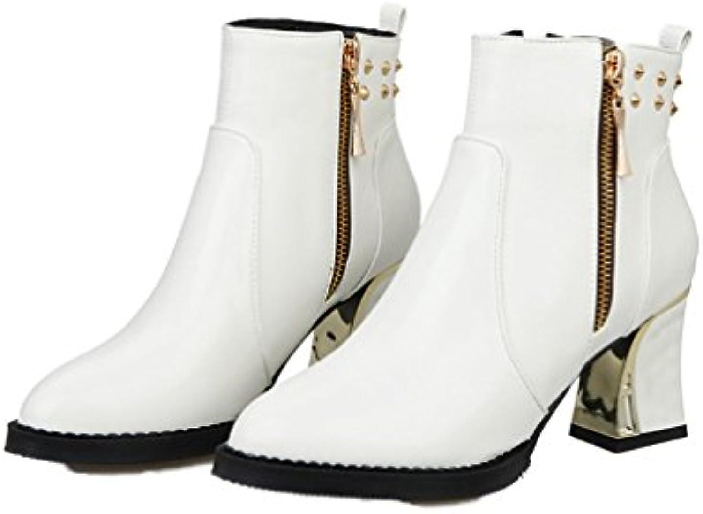 Xianshu Mujers Remache Tobillo Botas Punta Puntiaguda Cremalleraper Tacón ancho Zapatos