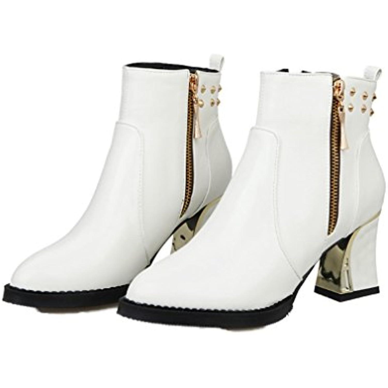 Xianshu Femmes Rivet Cheville Bottes Bottes Bottes Bout Pointu Fermeture eclairper Bloquer Tout Chaussures - B076YM5L5J - 109bc6