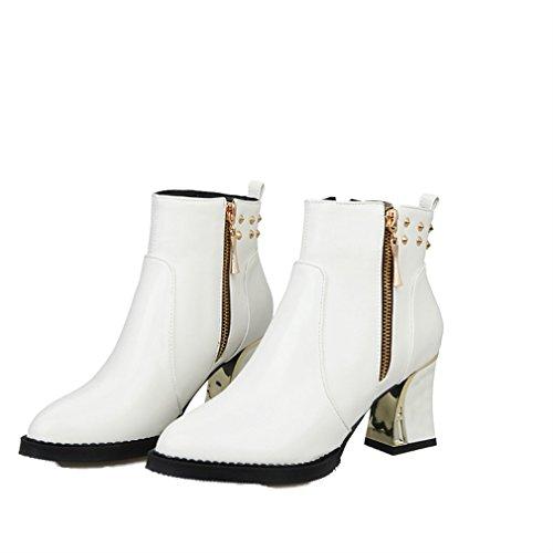 Xianshu Damens Niet Kurzschaft Bottes Spitze Reißverschlussper Alle Blockieren Schuhe (Weiß-38 EU) (Spitze Blockieren)