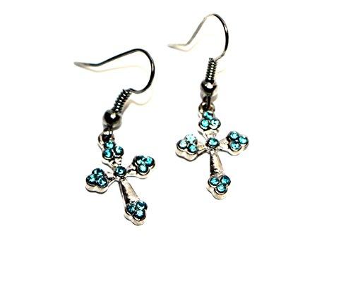 Bijoux Boucles d'oreilles Fashion en acier chirurgical en forme de croix avec zircone pour filles aqua