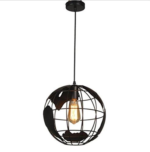 TRADE® Industriell Jahrgang Leuchter Schwarz Matt Globus-Form Dachgeschoss Eisen Hängend Deckenpendelleuchte Leuchte Lampe für Innenbar (Eisen-leuchter-lampe)