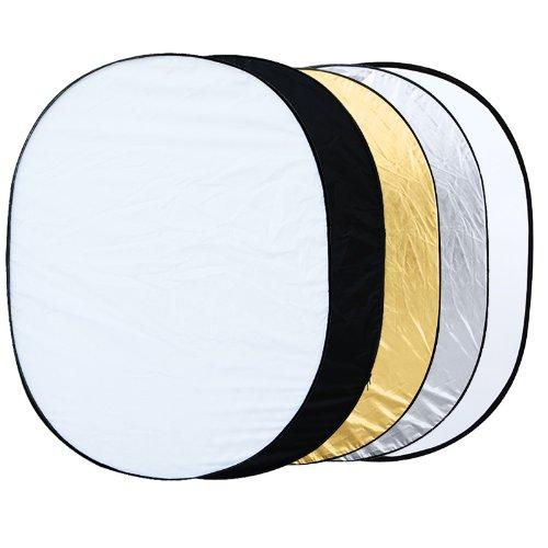 Andoer - Reflectores para estudio fotográfico (90 x 120 cm, 5 unidades, forma ovalada, plegable)