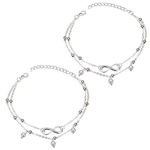Fefaxi Heiße Silberkette Perlen Fußkettchen Armband Fußkettchen Fuß Sommer Strand Schmuck für