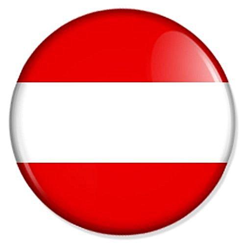 Österreich Flagge Button mit 25 mm Durchmesser - Badge Anstecker Anstecknadel (Modeschmuck Österreich)