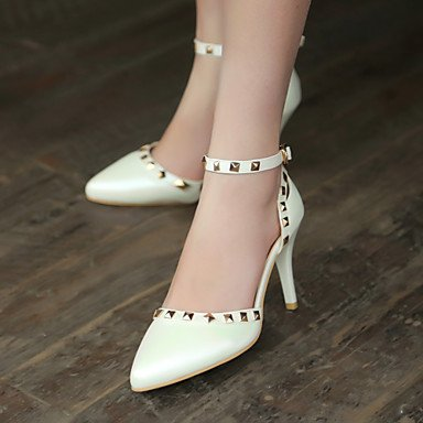 LvYuan Da donna-Sandali-Matrimonio Formale Serata e festa-D'Orsay-A stiletto-Finta pelle-Blu Rosa Bianco Dorato White