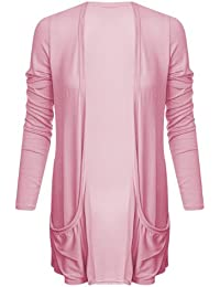 Ladies Boyfriend Long Sleeve Pocket Womens Top Open Cardigan Size 8 10 12 14 (M/L (UK 12/14), Baby Pink)