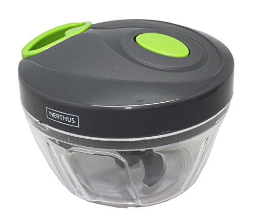 NERTHUS FIH 326 - Picadora de verdura, Cortador de Verduras Mini Picadora Manual de Verduras, Frutas, Zanahorias, Cebollas, Carne e incluye un Mezclador, Picadora de Alimentos con Cuerda