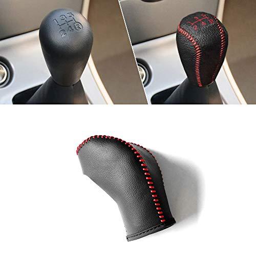 Manuell Schaltknauf Abdeckung Leder für Corolla EX 2005-2018 5 Gang Schalthebel Schwarz mit Rot Naht Modell B (Schaltknauf Manuelle Gang Rot 5)