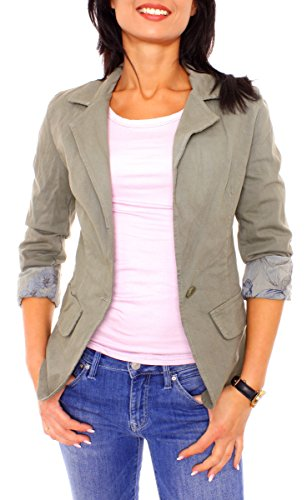 Damen Sommer Vintage Stil Gabardine Jeans Blazer Jacke Sakko Jeansblazer Kurz Baumwolle Gefüttert Langarm Uni Einfarbig Khaki M - 38