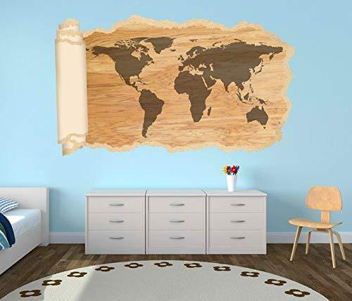3D Wandtattoo Tapete Karte Welt Weltkarte Holz braun Landkarte Afrika map alt Durchbruch selbstklebend Wandbild Wandsticker Wohnzimmer Wand Aufkleber 11O1615, Wandbild Größe F:ca. 97cmx57cm