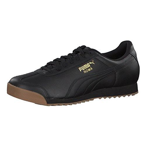 Puma Unisex-Erwachsene Roma Classic Gum Sneaker, Schwarz Black Team Gold, 42 EU (Puma Roma Herren)