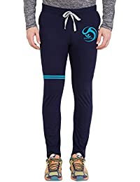 American-Elm Men's Blue Melange Stylish Sky Blue Color Brand Name Printed Trackpant