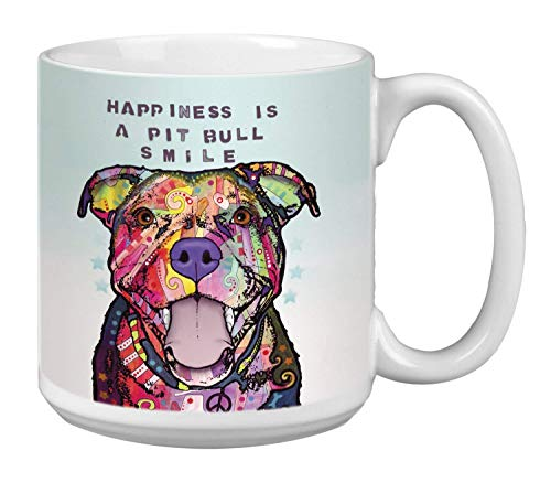 Pit Bull Smile Dog Extra Large Mug, 20-Ounce Jumbo Ceramic Coffee Cup, Pet Themed Dean Russo Art - Gift for Puppy Lovers (XM63204) Tree-Free Greetings - Jumbo Ceramic Mug