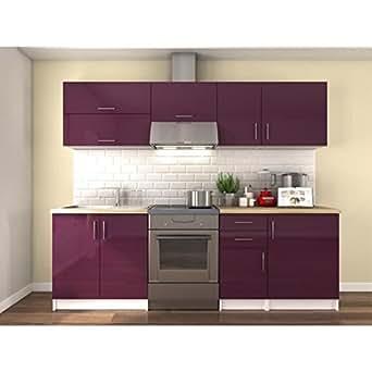obi cuisine complete 240cm laqu aubergine. Black Bedroom Furniture Sets. Home Design Ideas