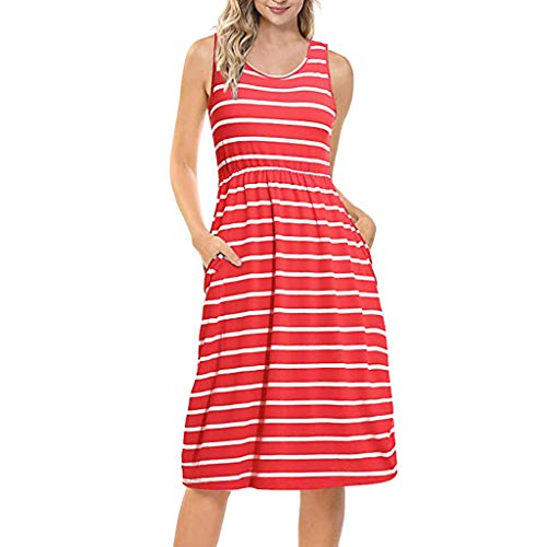 WWricotta Women's Casual O-Neck Sleeveless Loose Striped Maxi Dress with Pocket(rot,L)