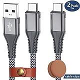 Galaxy Note 9 Ladekabel, (2-Pack 2M) USB Typ C Kabel mit Kabelklemmen USB C auf USB A Schnellladegerät Nylon geflochten Kabel Kompatibel Samsung S8 S9 Plus, Pixel, LG V30 G6 G5, NintendoSwitch, OnePlus 5 3T (Grau)