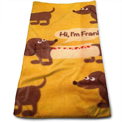 Hipiyoled Cute Wiener Dog Fabric Wallpaper Cotton Bath Towels for Hotel-Spa-Pool-Gym-Bathroom - Super Soft Absorbent Ringspun Towels (Trüffel-display)