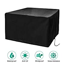 CosyInSofa Garden Furniture Covers, Patio Furniture Protective Cover Waterproof, Windproof, Anti-UV, 210D Heavy Duty Oxford Fabric Cube Set Table Cover for Patio, Outdoor (126x126x74cm) - Black