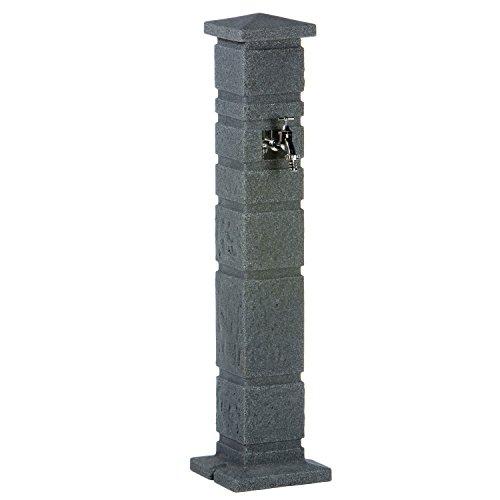 Wasserzapfstelle Wasserentnahmestelle Romana black granit aus hochwertigem Kunststoff mit Wasserhahn. Die Wasserzufuhr erfolgt über ein handelsübliches Schlauchstecksystem auf der Rückseite.