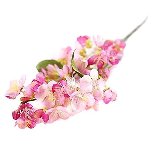Zolimx Künstliche Fake Blumen, Blatt Kirschblüten Blumen, Hochzeit Bouquet Party Dekor (Hot Pink)