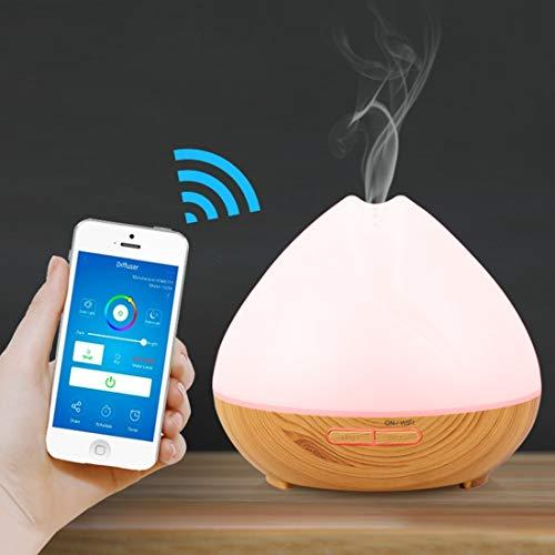 WARM home Casa DT-1641YN 400 ml humidificador ultrasónico con difusor de Aroma por Wi-Fi Inteligente con Luces LED, ABS, Control Remoto de la aplicación Cool Mist de Control Remoto. Dar Regalos