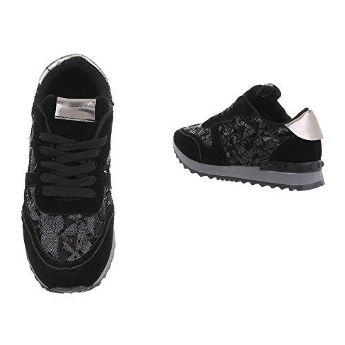 Sneakers Ital-design Basse Scarpe Da Donna Sneakers Basse Sneakers Lacci Per Il Tempo Libero Scarpe Nere G-97