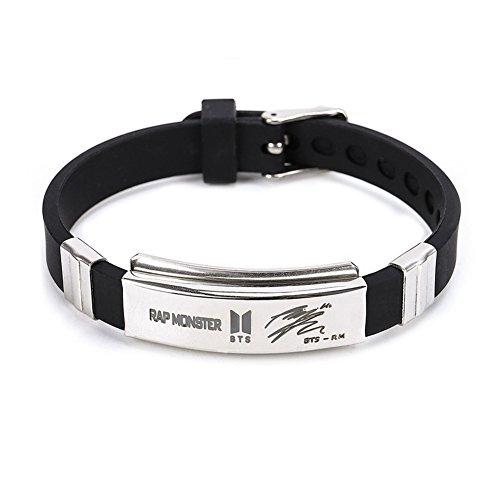 GOTH Perhk BTS Bangtan Boys Charakter Unterschrift Armband Modeschmuck Armband Edelstahl Silikon Armband Anti-Rost und Anti-Wasser Geschenk für BTS Armee(Rap Monster) - Unterschrift Herren Pullover