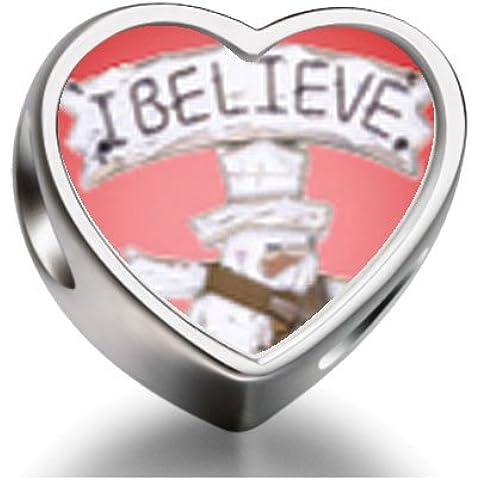 Rarelove Sterling Silver I Believe Snowman Heart Photo Charm Beads