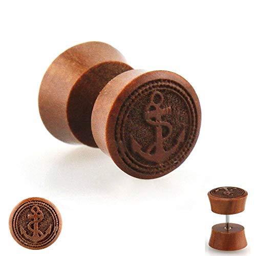 Zwei 2 Holz (Treuheld Piercing Fake Plug - Holz - Braun - Anker [2.] - 10 mm)