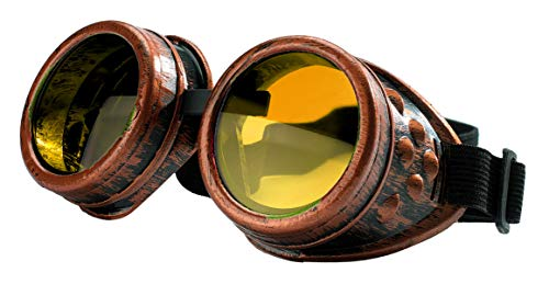 Kostüm Brille Dame Alte - 4sold (TM Steampunk Antique Copper Cyber Goggles Rave Goth Vintage Victorian Like Sunglasses All Pictures (Goggle Copper with Free lensses and Stickers)