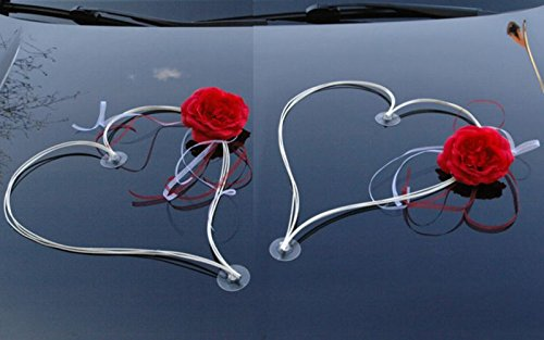 DEKORIERT RATAN HERZEN Auto Schmuck Braut Paar Rose Deko Dekoration Autoschmuck Hochzeit Car Auto Wedding Deko (Rot / Weiß)