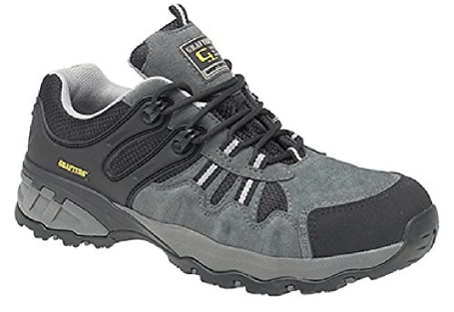 Grafters Adult Suede and Textile Composite Non-Metallic Safety Trainer Shoe - Lightweight UK 6 Grey / Black (Metallic-multi-leder-schuhe)