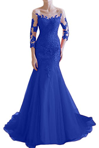 Victory Bridal - Robe - Crayon - Manches 3/4 - Femme bleu roi