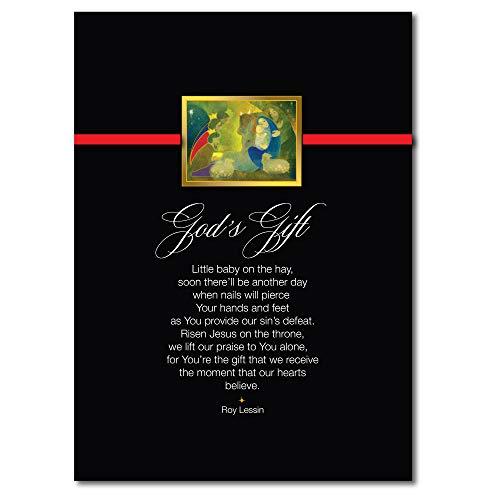 Weihnachtskarten H1912 Diese religiöse Karte spricht von Gottes Geschenk an uns durch seinen Sohn Jesus. 25 Karten, 26 Folien-Umschläge. - In Geschenk-karte Box $25