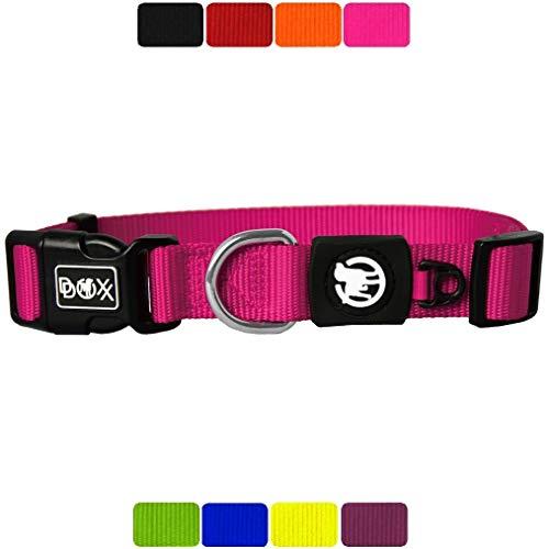DDOXX Hundehalsband Nylon, verstellbar   viele Farben & Größen   für kleine & große Hunde   Halsband Hund Katze Welpe   Hunde-Halsbänder breit   Katzen-Halsband klein   Pink, S