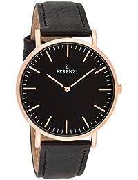 Ferenzi Unisex - FZ18602 - Reloj de oro rosa con una correa de cuero negro