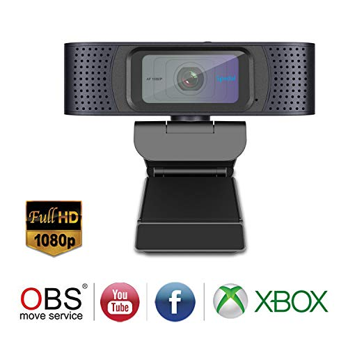 Spedal Pro Stream Webcam 1080P, Dos Micrófonos Estéreo, Tapa de Obturador, Enfoque Automático Streaming Cámara Web para Xbox OBS XSplit Skype Facebook, Compatible con Linux Mac OS Windows 10/8/7