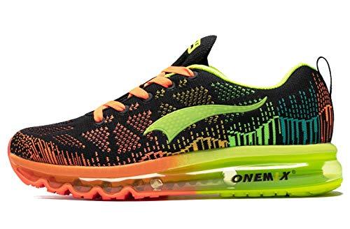 ONEMIX Luftkissen Laufschuhe Herren Leichter athletischer Sport Beiläufig Gehen Fitness Turnschuhe Sneaker, Schwarz Fluoreszierendes Grün, 42 EU