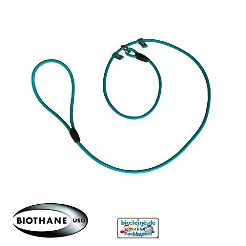 Retrieverleine aus runder Beta BioThane®, Moxonleine mit Zugstopp, Wasserabweisende Hundeleine, Leine für Retriever, 6mm dick, 2m lang, Türkis