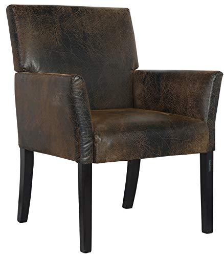 SixBros. 1010/7692 Esszimmerstuhl aus Kunstleder - Polsterstuhl mit Armlehne - Polstersessel in braun - Stuhl für Esszimmer Wohnzimmer Küche